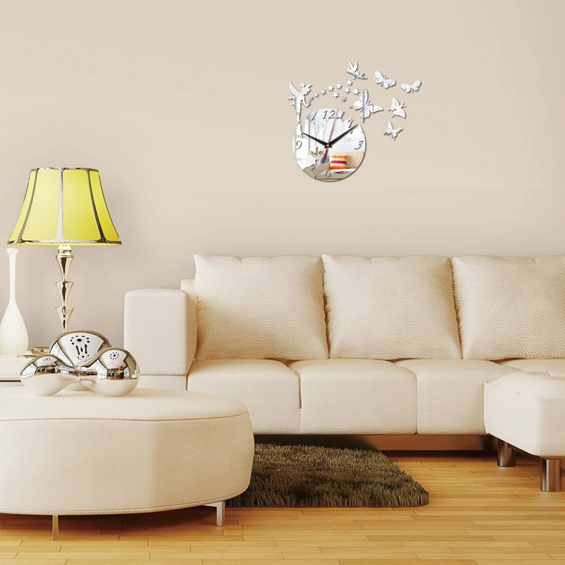 hot sale 17 top fashion 3d diy acrylic wall clock home decoration living room stickers new watch clocks 3