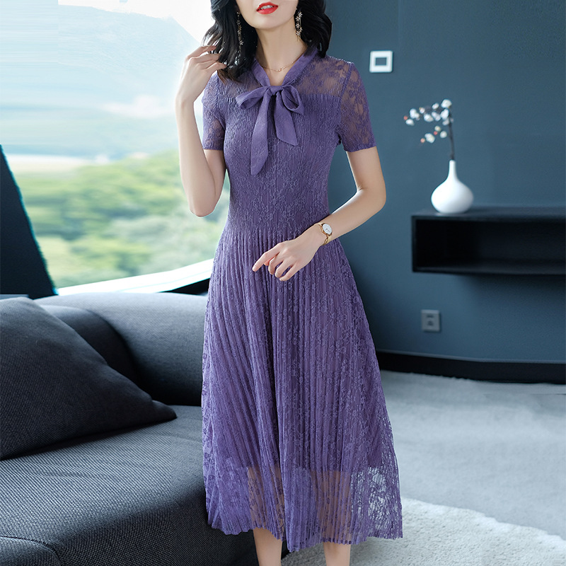 Women Pleated Lace Elegant Lady One piece Slim Fress Size Long One piece Dress