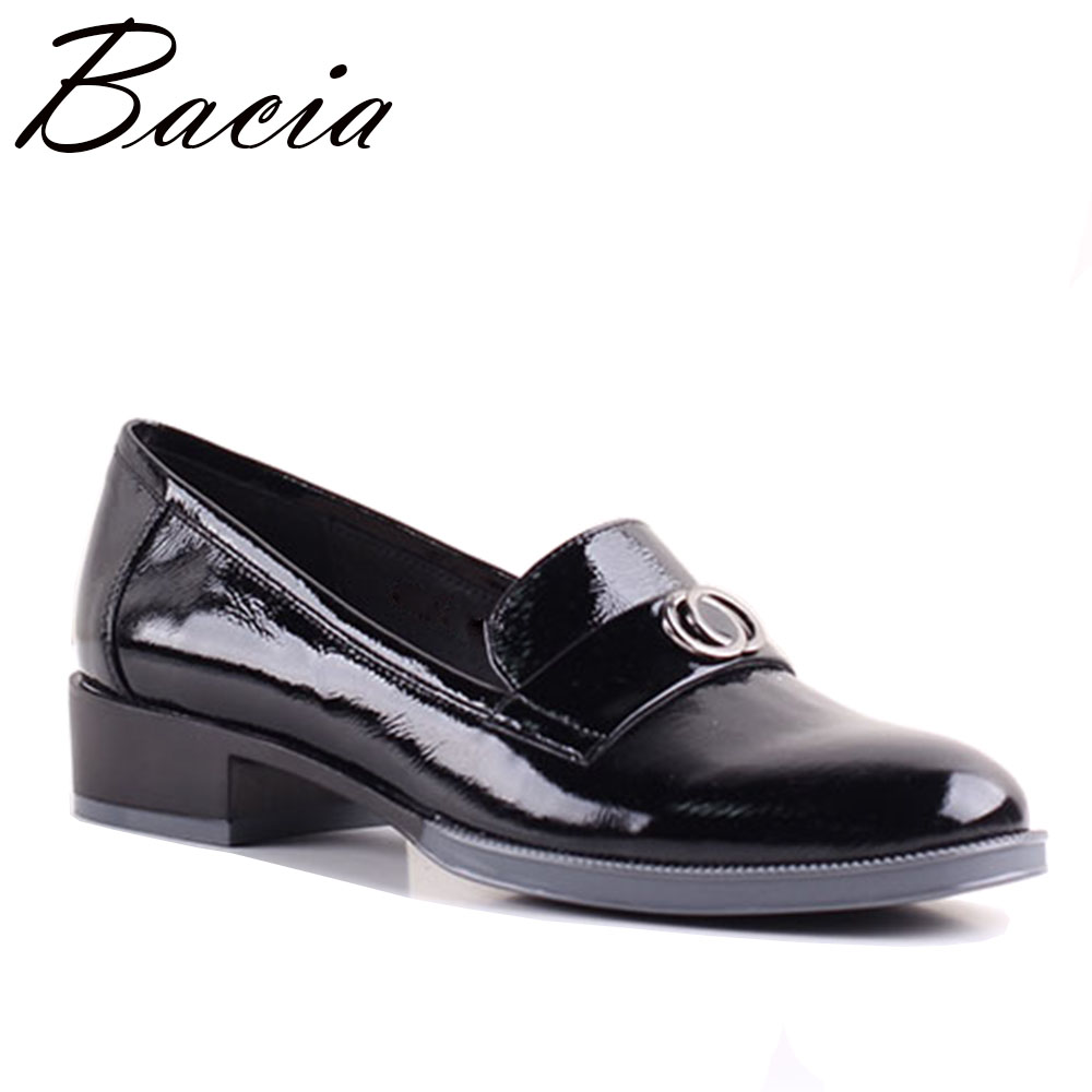 Bacia shoes woman flats slip-on 36-41 Black Soft genuine leather women shoes Pigskin Insole Causal Flats Free shipping SB056