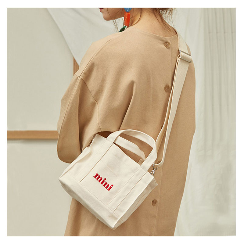 MINI Canvas Handbag Mini Single Shoulder Bag Crossbody Messenger Bags Bucket Bag Korean Totes