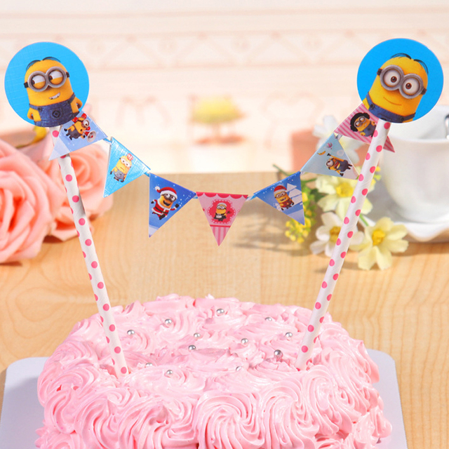Straw String Banner Happy Birthday Cake Topper Despicable Me Minions
