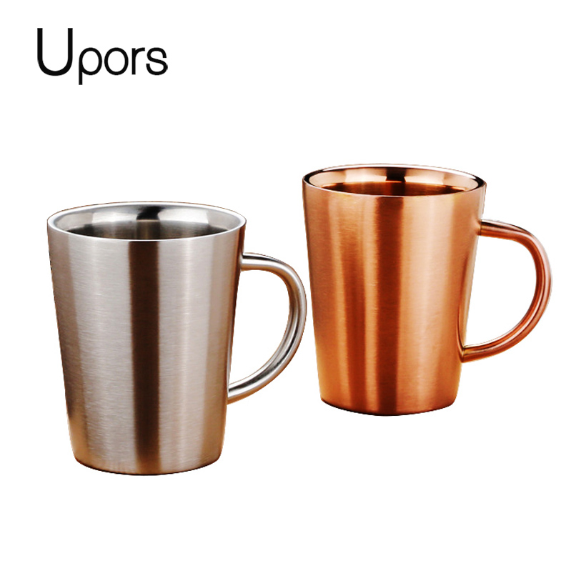 Upors 304 Stainless Steel Double Wall Coffee Mugs Tumbler Vacuum Thermos Travel Mug Beer Wine Tea Cup 320ml