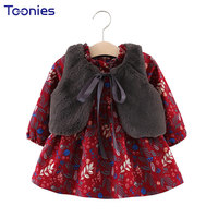 Princess Baby Girls Suits 2018 Autumn Winter New Cute Girl Suit Thicker Dress Fur Vests 2