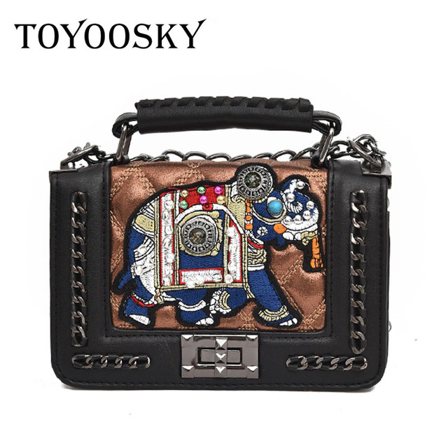 2a740eaf830d TOYOOSKY New fashion Cartoon Elephant Bags Women Appliques Women Handbags  Small Flap Square Bag With Chain