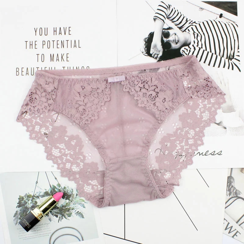 Lace Sexy Hollow Underwear Lace Hip   Panties   Women Transparent Breathable Briefs For Women Cotton crotchless Intimates   Panties