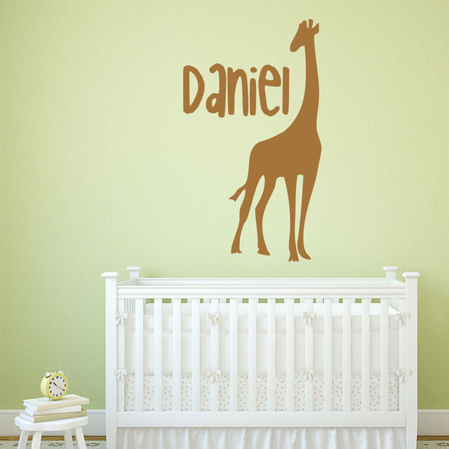 personalised name giraffe wall stickers animal wall decal kids