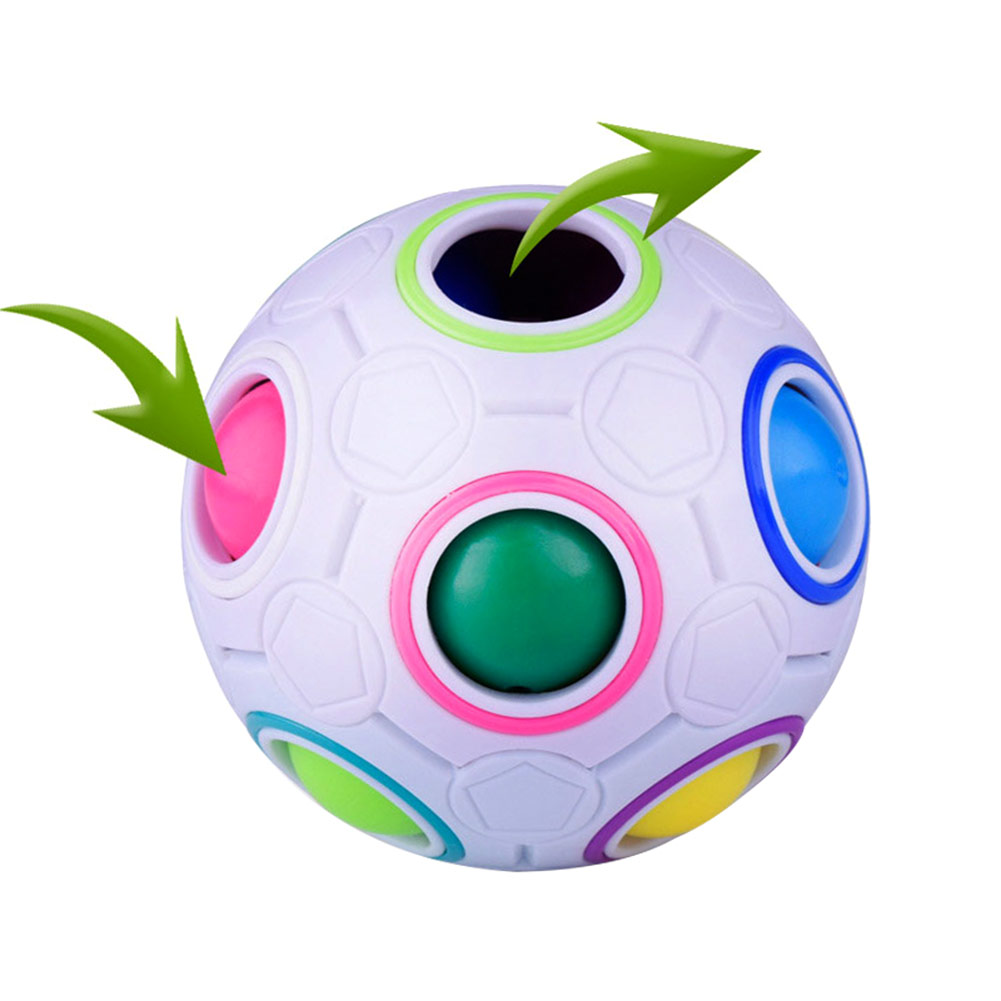 Rainbow Puzzles Ball Adult Kid Ball Magic Cube Toy Plastic Creative Football Puzzle Children Learning Educational Fidget Toys