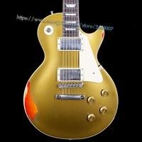 10S Custom Shop LP Standard Painted Over Goldtop Over Cherry Sunburst Aged Electric Guitar