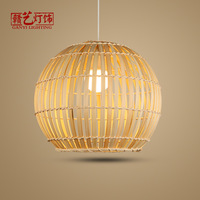 New Chinese bamboo woven lantern pendant lamp farmhouse Tea House Hotel round table lamp, Japanese tatami, bamboo lamps
