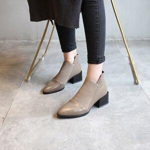 Image 3 - 도나 인 두꺼운 메카 발 뒤꿈치 정품 가죽 여성 부츠 지적 발가락 탄성 가을 겨울 신발 플러시 브라운 블랙 발목 부츠