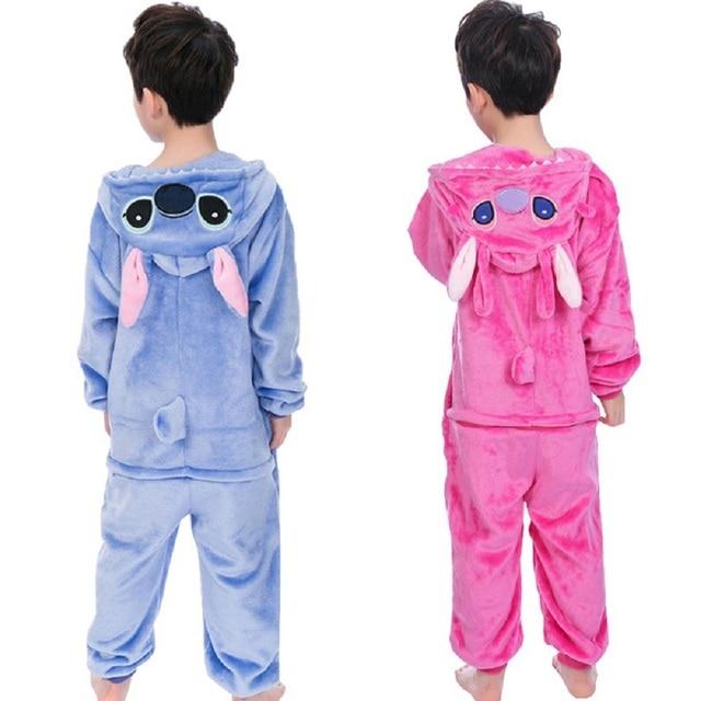 Baby Boys Girls Flannel Animal Stitch Pajamas Winter Hooded Kids Pijamas Children Sleepwear Onesies pyjamas 4 6 8 10 12 Years