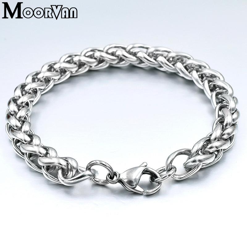 Men Bracelet Silver Color Stainless Steel Wheat Link Chain Bracelets Male Jewelry Hip Hop Gift 4/5/6/8mm Rock PUNK