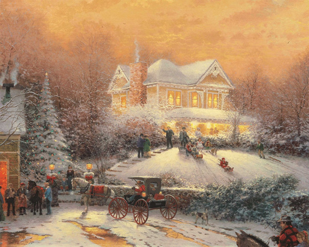 free shipping Christmas lights snow house night scenery canvas prints oil painting printed on canvas wall art decoration picture