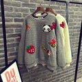 2015 Autumn Winter Fashion Women Berber Fleece O-neck Pullover Sweater Thicken Warm Cartoon Cute Top