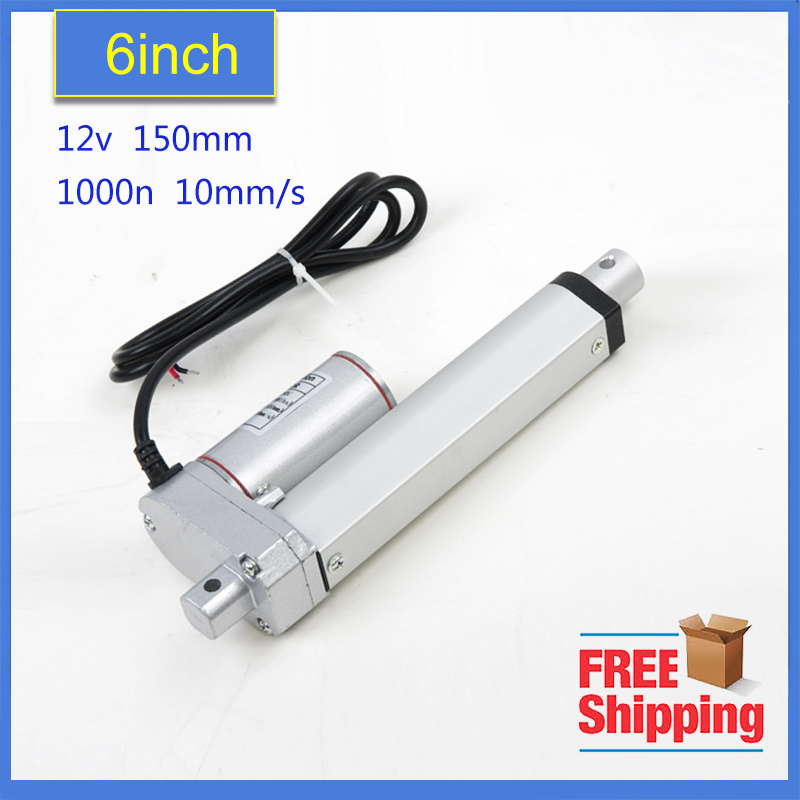 Free Shipping 150mm/6 stroke electric linear actuator, 225LBS/100KGS/1000N load DC 12V/24V small linear actuator цена