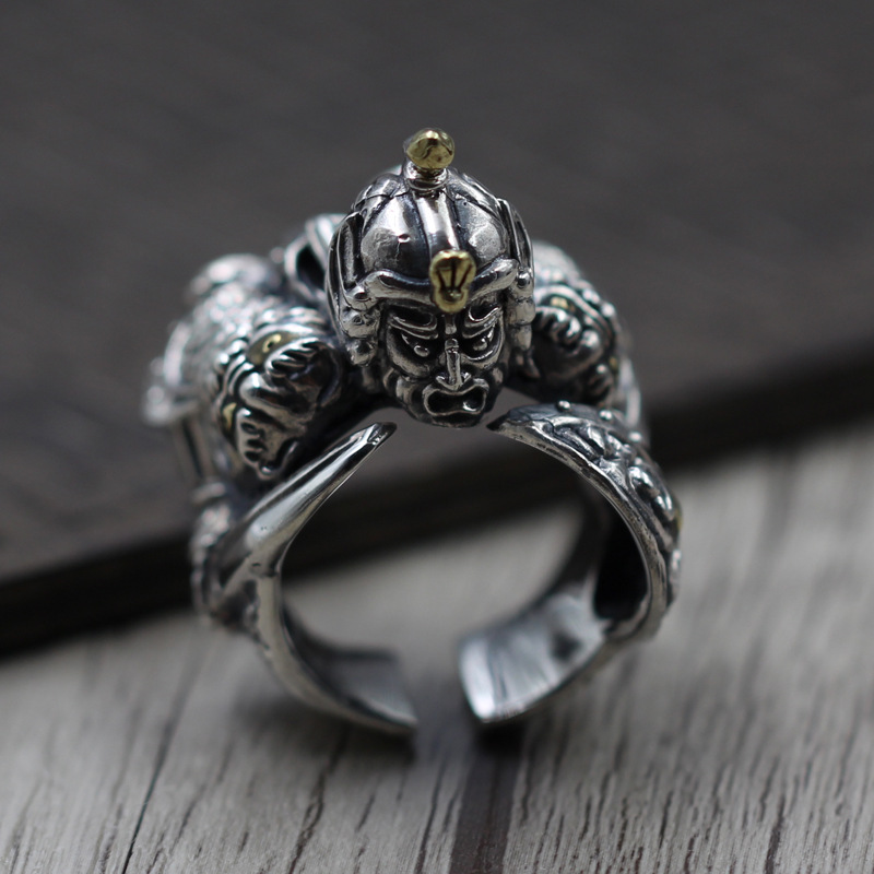 Thai silver unique shoo in Zhao Zilong to do the old men's ring ring retro S925 Silver hairy maclary shoo