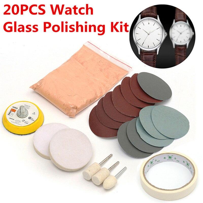20 unids/set Kit de pulido de vidrio de reloj de limpieza de vidrio almohadilla de pulido de eliminación de arañazos y rueda de 50mm almohadilla de respaldo de calidad duradera