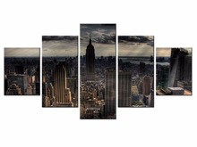 5 pieces / set of Beautiful city landscape wall art for decorating home Decorative painting on canvas Wholesale/XC-City-55