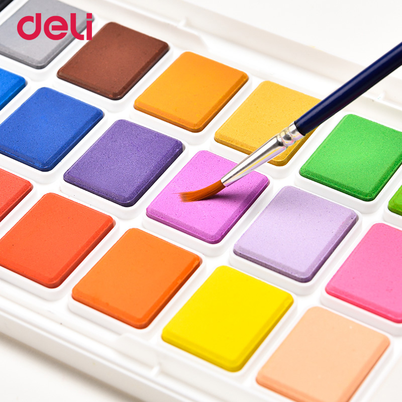 Deli solid gouache watercolor paint water-soluble student 121824 colors safety non-toxic children beginners painting supplies
