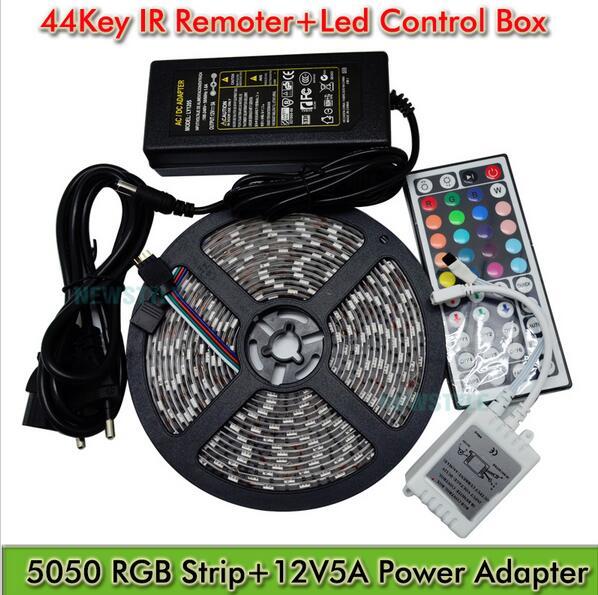 Не водонепроницаемый RGB светодио дный полоски SMD5050 44key ИК пульт дистанционного праздник освещения 60 светодио дный полосы для украшения весь комплект с источника питания - 2