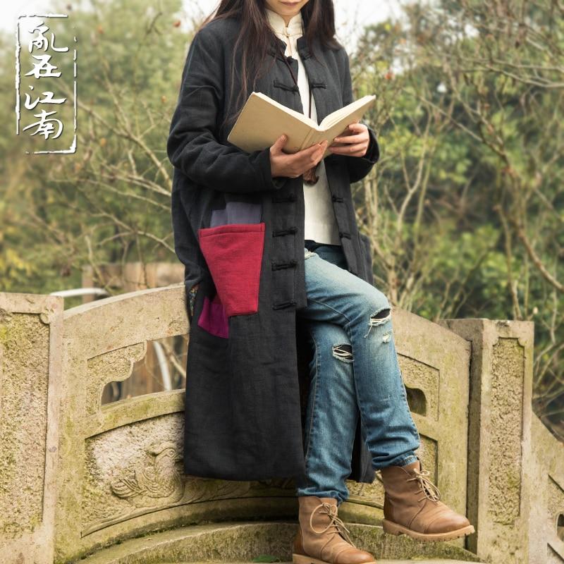 Autumn Winter Folk Style XXLdust coat cotton padded clothes patchwork trench coat Windbreaker Casual Oversized Outwear