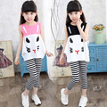 Summer Girls Sets Cartoon Tops And Striped Pants Ensemble Fille Ete 2016 Casual Children Clothing Set Sleeveless Girl Top Suits