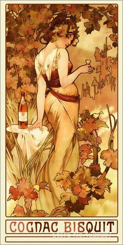 Cognac Bisquit by Alphonse Mucha Canvas art Painting High quality Hand painted