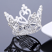 TDQUEEN Bridal Wedding Hair Accessories Silver Plated Full Round Crystal Rhinestone Tiaras and Crowns for Women