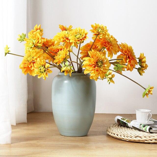 Indigo 5 Tiges 5 Fleurs Tige Soie Fleur Jaune Dahlia Pulverisation