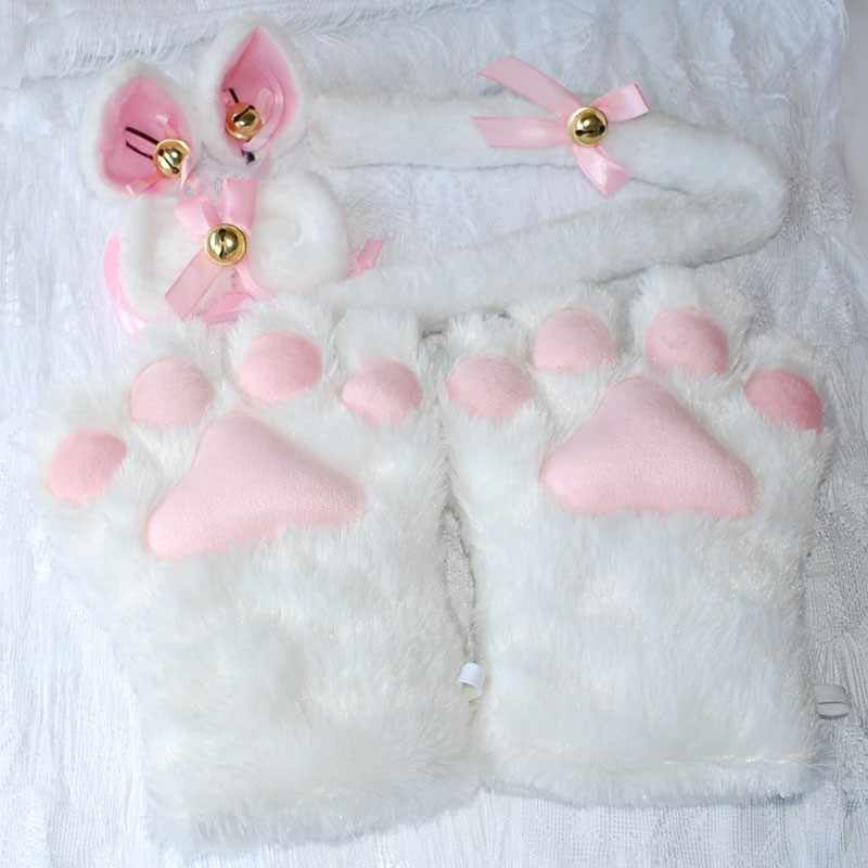 89a546d36 ... 1 Set Women Girls Cat Animals Ears Plush Paw Claw Gloves Tail Ribbon  Anime Cosplay Costumes ...