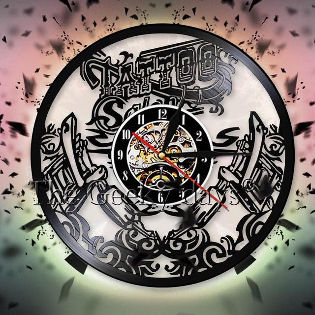 Tattoo Salon Wall Art Decor Vinyl Record Wall Clock Tattoo Shop ...