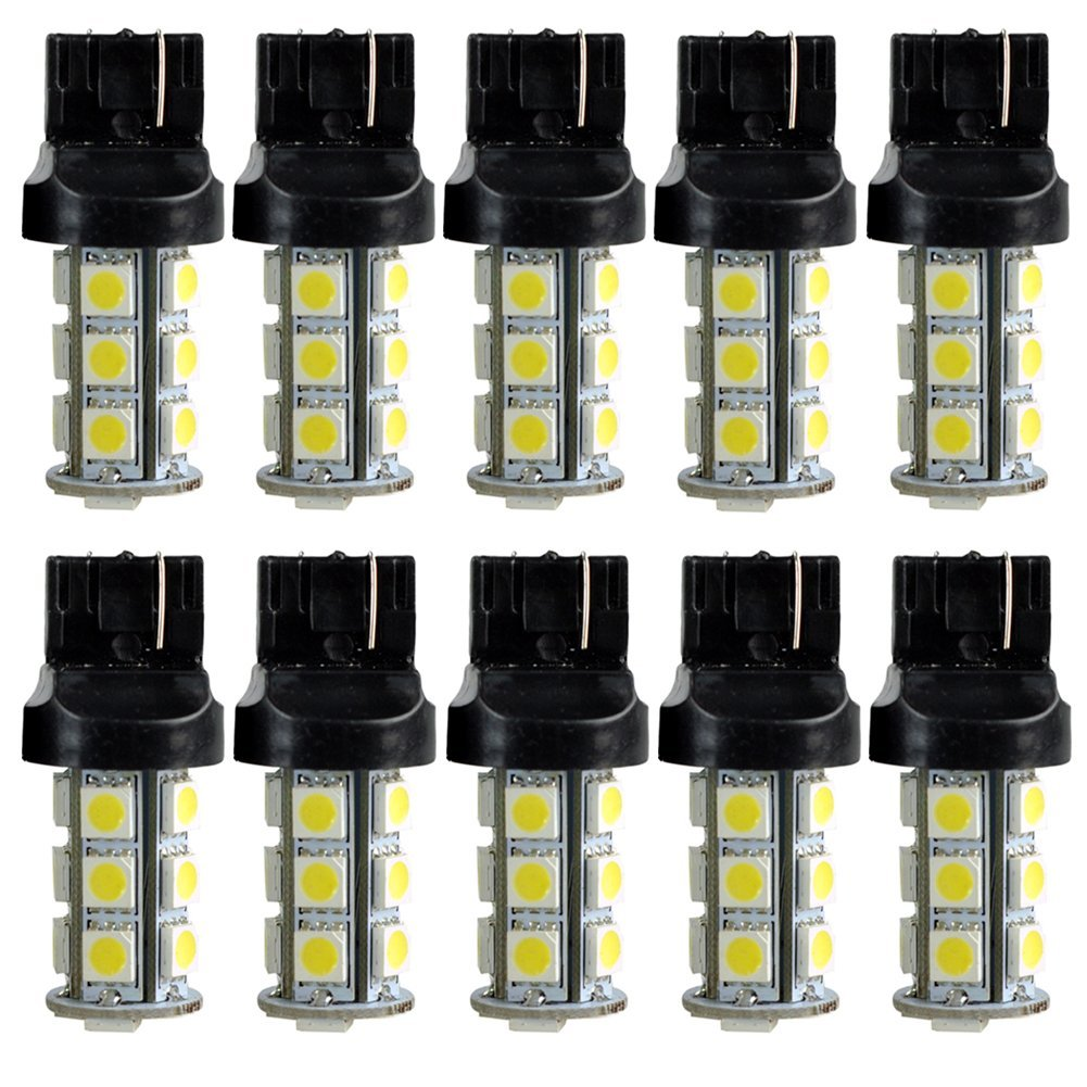 Фотография 10x)  New 7440 T20 White 18 LED 5050 SMD Tail Brake Light Bulbs