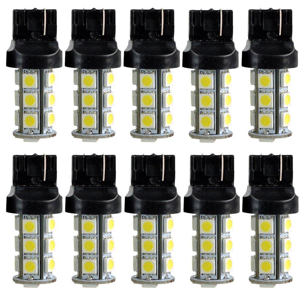 10x)  New 7440 T20 White 18 LED 5050 SMD Tail Brake Light Bulbs 7443 7440 t20 6w 200lm 18 x smd 5050 led yellow car steering brake backup tail light 12v