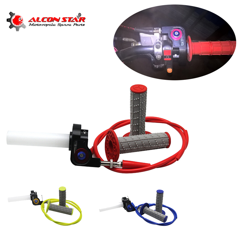 Alconstar- Throttle Grip Quick Twist Gas+Throttle Cable+Handle Grips Fit For Honda KAYO Apollo Bosuer Dirt Pit Bike Visual Grips