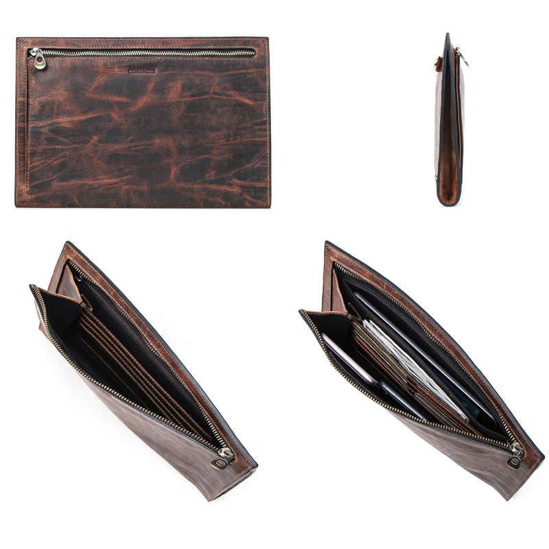 Contact's crazy horse couro dos homens bolsa de embreagem com zip coin pocket cartão de crédito carteira grande vintage masculino bolsa para 9.7in ipad