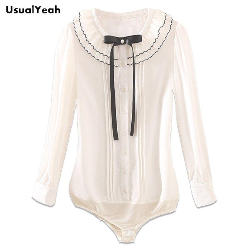 2018 New Women Body Blouses Shirt Pleated Elegant Bow Long sleeve Peter pan Collar OL Lady chiffon Blouse White blusas SY0381