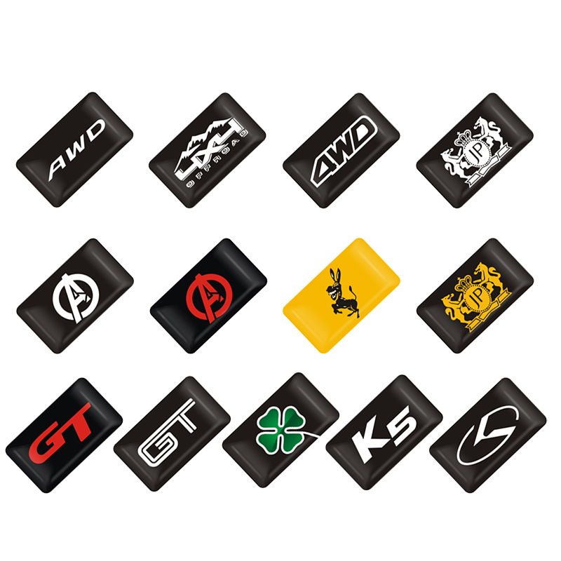 50Pcs 3D Epoxy Car DIY decoration Sticker Emblem for KIA Ford Volvo Honda Renault Alfa Romeo BMW Chevrole Toyota Decals in Car Stickers from Automobiles Motorcycles