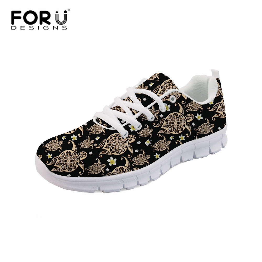 FORUDESIGNS Sea Turtle Prints Flats Light Sneakers for Woman Casual Comfortable Girls Mesh Breathable Shoes Spring Lace-up ShoesFORUDESIGNS Sea Turtle Prints Flats Light Sneakers for Woman Casual Comfortable Girls Mesh Breathable Shoes Spring Lace-up Shoes