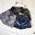 De alta Calidad de las mujeres de Terciopelo shorts mujeres feminino shorts cintura Elástico corto de Bolas de Piel gris negro armgreen pantalón azul