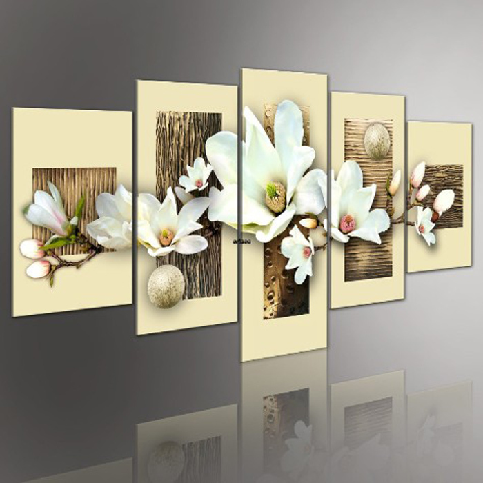 Flowers Love 5 Screen Hand Painted Pop Canvas Modern Decorative Abstract Art Stereo Pure White Gift Oil Paintings 5Pcs/set