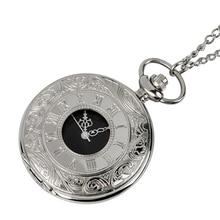 все цены на New Arrival Silver Smooth Quartz Pocket Watch Fob Chain Best Gift Men Women Fashion Steampunk Roman Numerals reloj de bolsillo онлайн