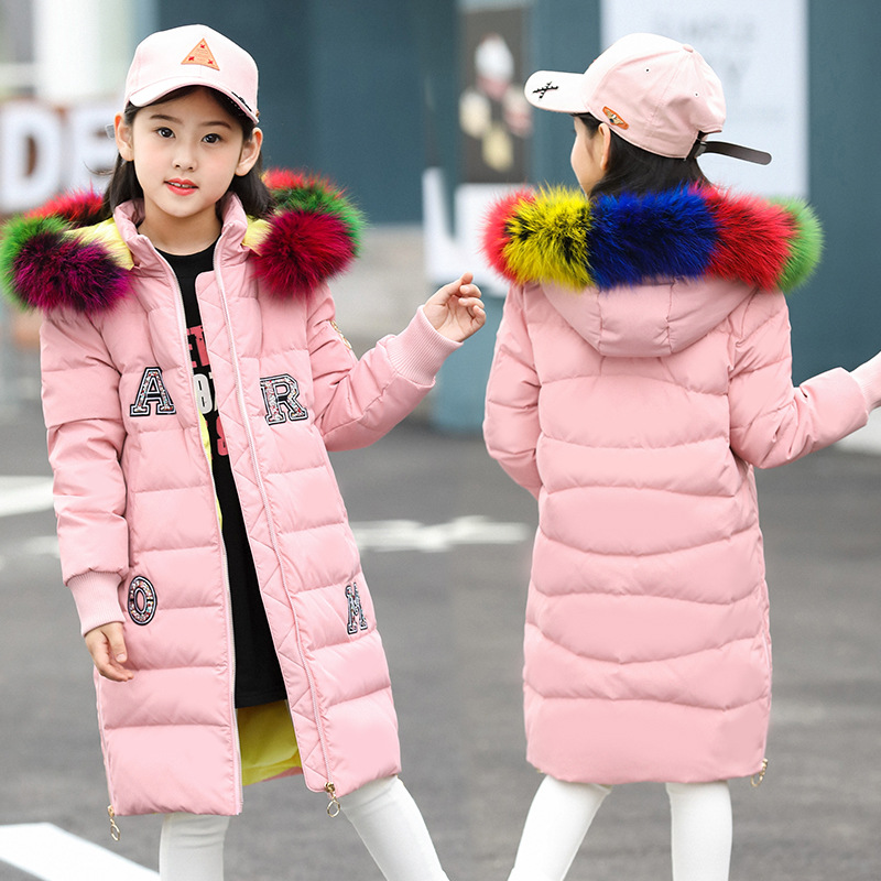 2018 New Fashion Children Winter Jacket for Girl Coat Kids Warm Thick Colorful Fur Collar Hooded Long Down for Teenage 4Y-14Y girls down coats girl winter new 2018 fashion children coat kids warm thick fur collar hooded long down parka for teenage 4y 14y