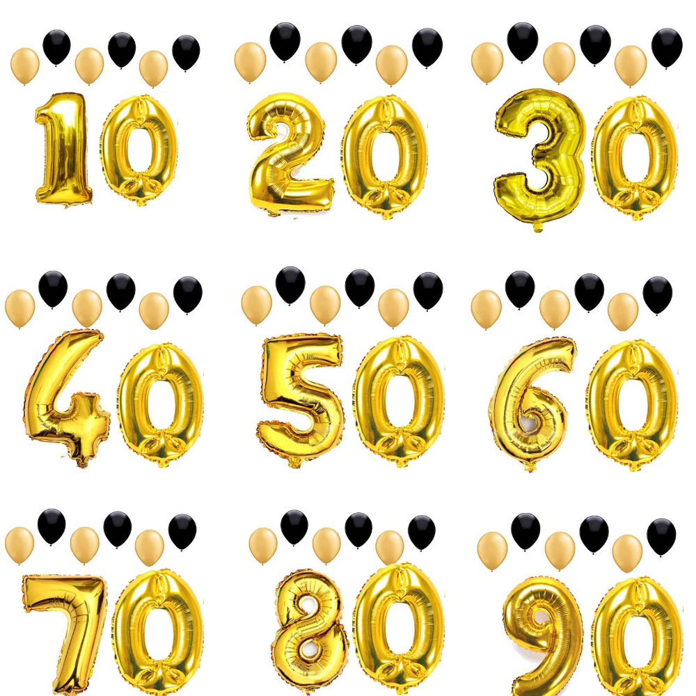 40inch Anniversary Party Decoration Gold Number balloons Cheers To 10 20 30 40 50 60 70 80 <font><b>90</b></font> <font><b>Years</b></font> Adult <font><b>Birthday</b></font> Retirement image
