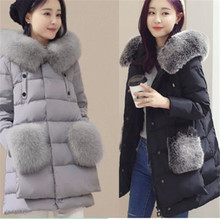 Winter 2017 New Fashion Elegant Women Thick Fur collar White Duck Down Jacket Medium long Slim Big yards Warm Hooded Coat G0361