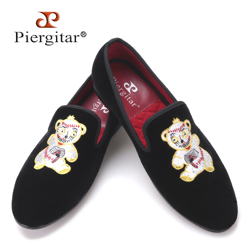 Piergitar 2017 new Bear Embroidery Men Velvet Shoes Men Plus Size Men Loafers Men Flats Size US 4-17 Free shipping men denim shoes piergitar new fashion star men loafers navy blue plus size men s flats size us 4 17 free shipping