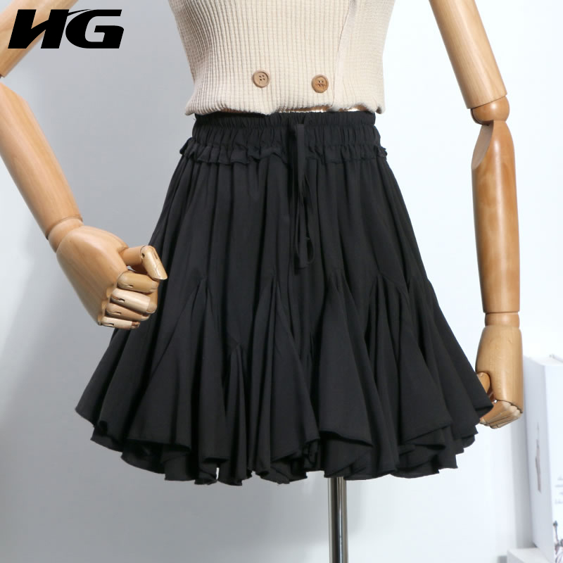 [HG] Women 2019 Spring Summer Fashion New Solid Color Pleated Loose Skirt Female Bow Bandage Above Knee Casual Skirt LYH2648