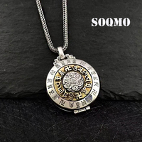 SOQMO 925 Sterling Silver Jewelry Buddhistic Six Words' Mantra Pendants for Women Men Vintage Jewelry Can Be Opened SQM142