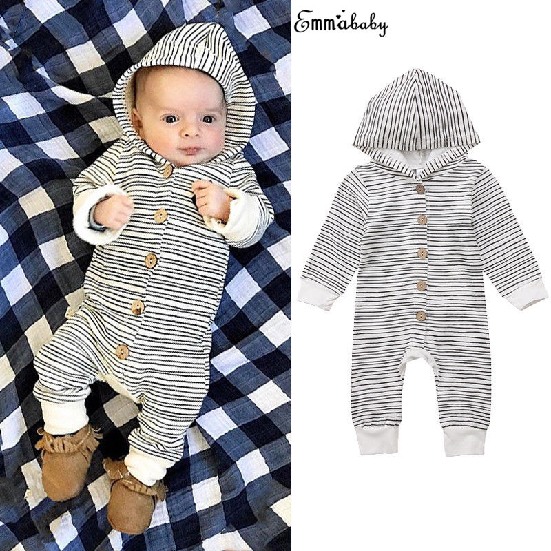 Toddler Lovely Infant Baby Girls Boys Hoodie Clothes Striped Romper Long Sleeve Jumpsuit Tracksuit Outfits Pajamas Clothing