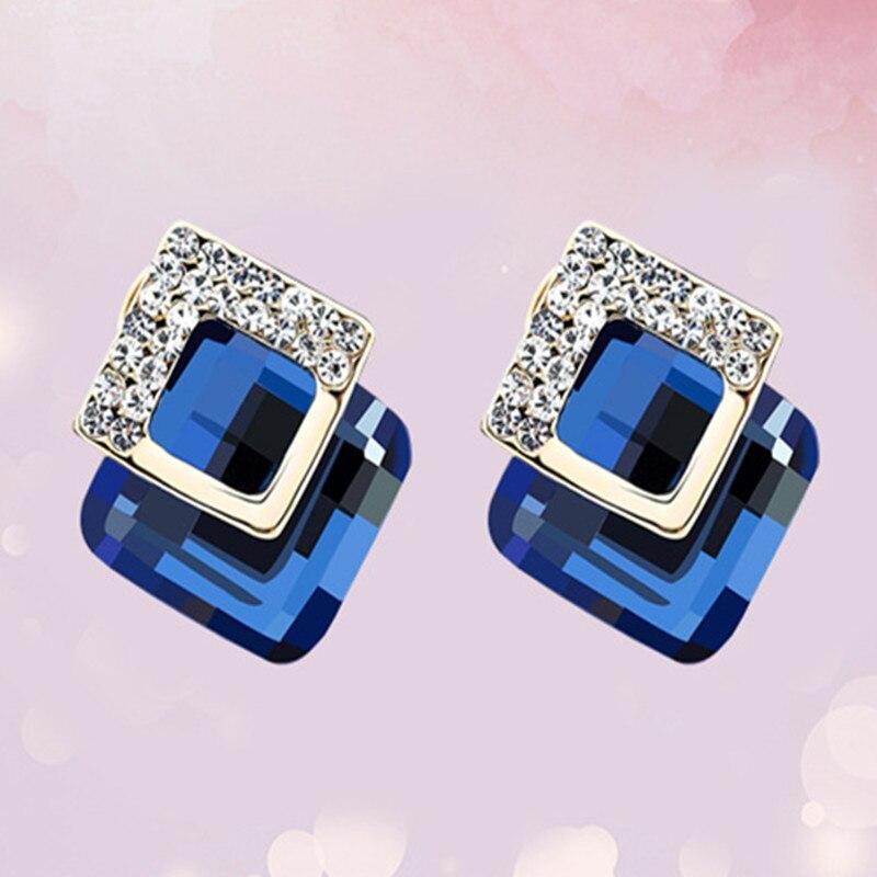 fashion big crystal Stud Earrings For Women rhinestone stud Dangle geometric earrings Ladies Jewelry Gift