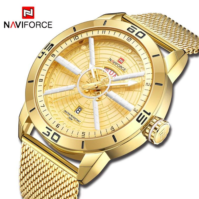 NAVIFORCE Watch Men Fashion Sport Quartz Clock Mens Watches Top Brand Luxury Militaty Waterproof Gold Watch